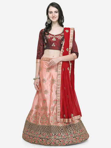 Pink Color Silk Satin Women's Semi Stitched Lehenga Choli - VSMKNA34403