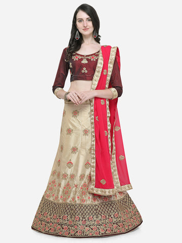 Beige Color Silk Satin Women's Semi Stitched Lehenga Choli - VSMKNA34404