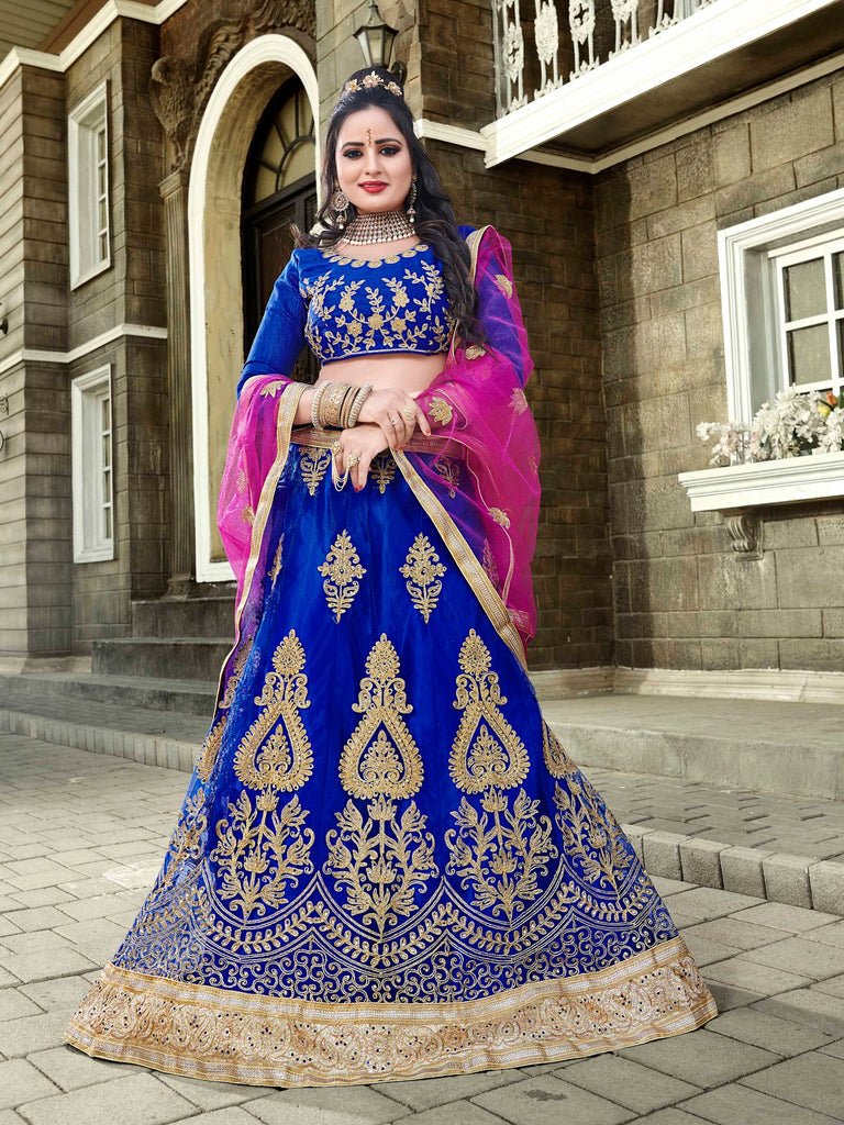 Buy Blue Color Net Semi Stitched Lehenga