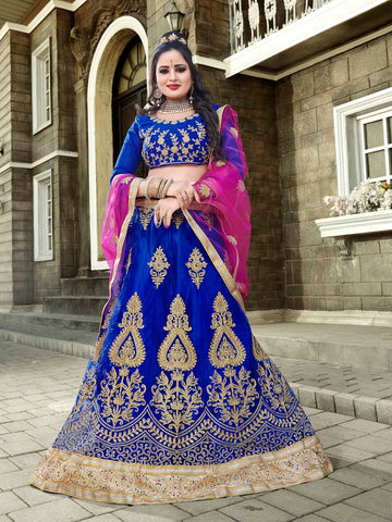 Blue Color Net Semi Stitched Lehenga - VSNNA22004