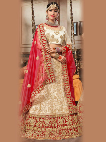 Beige Color Silk Satin Semi Stitched Lehenga Choli - VSNRA27001