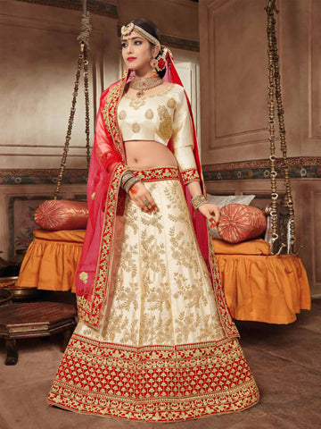 Beige Color Silk Satin Semi Stitched Lehenga Choli - VSNRA27003