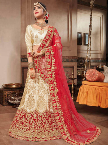 Beige Color Silk Satin Semi Stitched Lehenga Choli - VSNRA27004