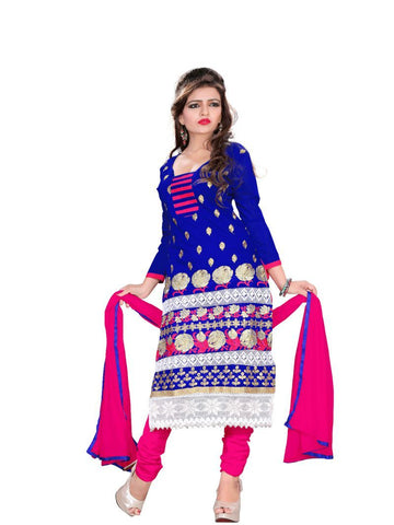 Blue Color Chanderi UnStitched Salwar - VSRANI04