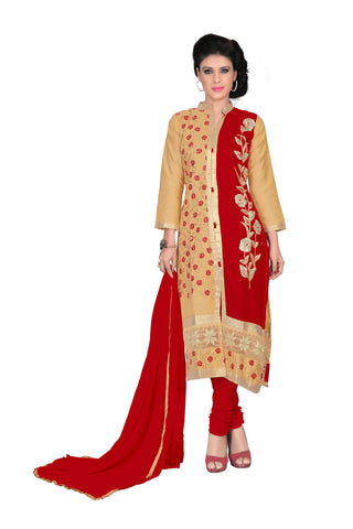 Chiku And Red Color Glaze UnStitched Salwar - VSRDME01