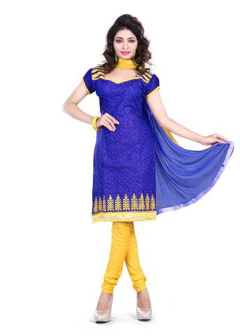 Blue Color Chanderi UnStitched Salwar - VSSHB01