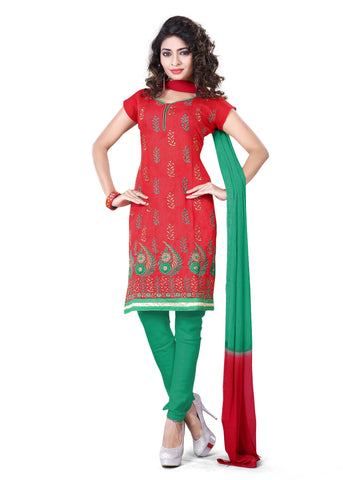 Red Color Chanderi UnStitched Salwar - VSSHB02