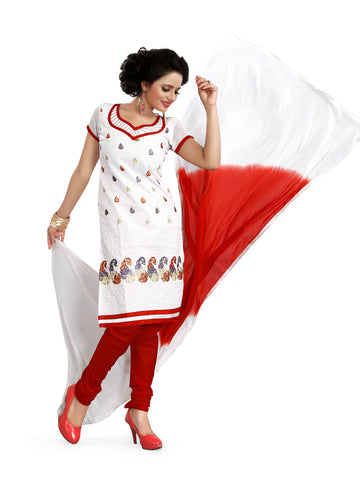 White Color Chanderi UnStitched Salwar - VSSHB101