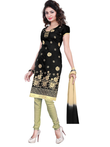 Black Color Chanderi UnStitched Salwar - VSSHB11