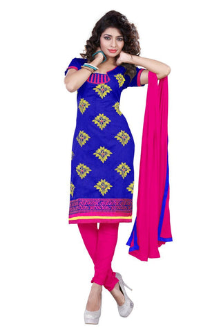Blue Color Chanderi UnStitched Salwar - VSSHB16