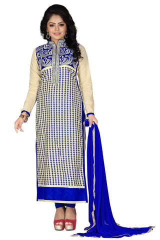 Cream Blue Color Cotton UnStitched Salwar  - VSSPNVLY123