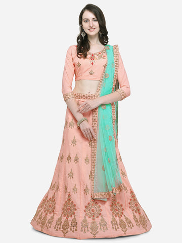 Pink Color Silk Satin Women's Semi Stitched Lehenga Choli - VSSPYA34502