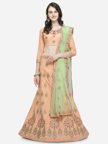 Peach Color Silk Satin Women's Semi Stitched Lehenga Choli - VSSPYA34503