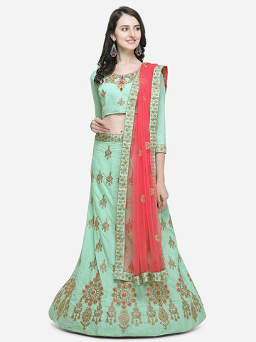 Green Color Silk Satin Women's Semi Stitched Lehenga Choli - VSSPYA34504