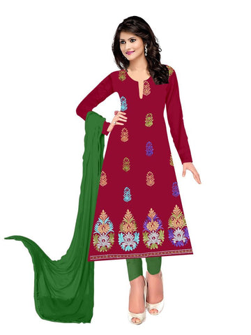 Red Color Crepe UnStitched Salwar - VSUMANG13