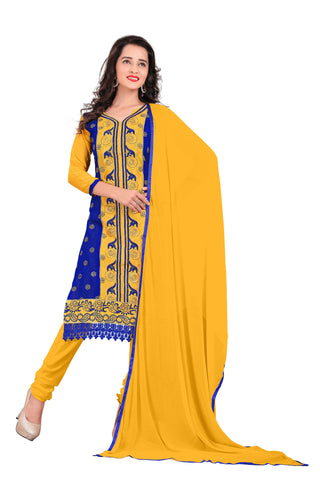 Yellow And Blue Color Chanderi UnStitched Salwar - VSVANI03
