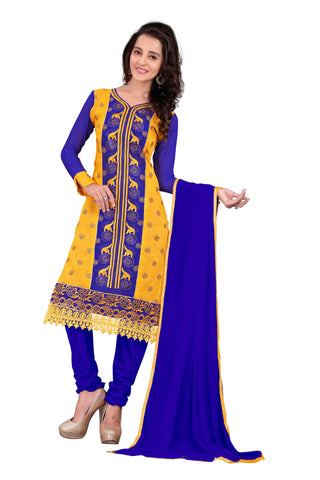 Blue And Yellow Color Chanderi UnStitched Salwar - VSVANI04