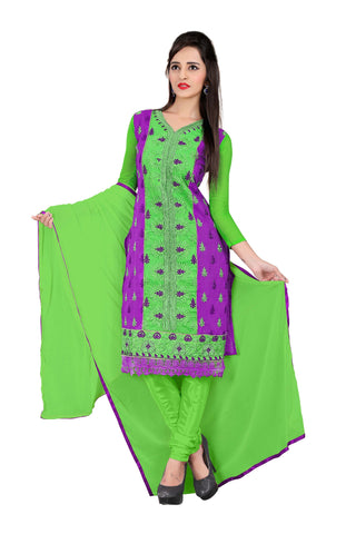 Green And Purple Color Chanderi UnStitched Salwar - VSVANI05