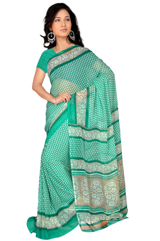 Sea Green Color Georgette Saree - VSVDBLJK2174A