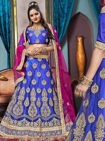 Blue Color Net Semi Stitched Lehenga - VSVDKA21001