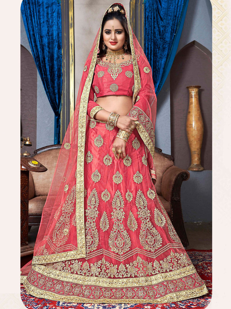 Buy Peach Color Net Semi Stitched Lehenga