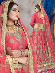Peach Color Net Semi Stitched Lehenga - VSVDKA21002