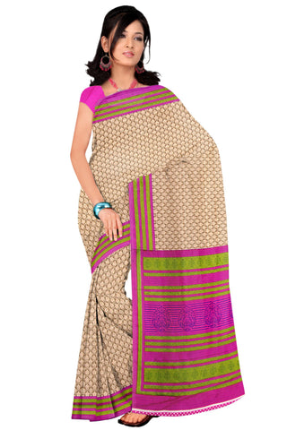 Beige Color Crackle Silk Saree - VSVDKAK258