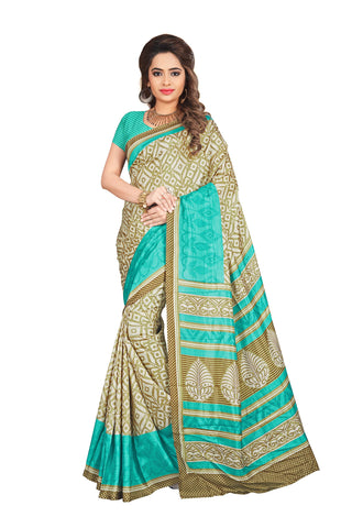 Beige Color Crackle Silk Saree - VSVDKAK344B