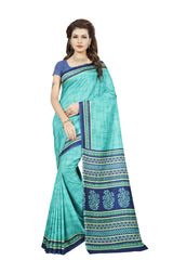 Buy Turquoise Color Crackle Silk Saree