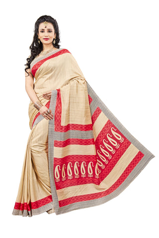 Beige Color Crackle Silk Saree - VSVDKAK346