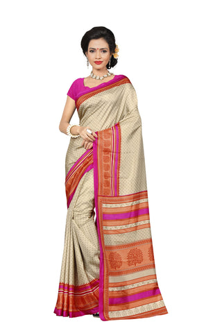 Beige Color Crackle Silk Saree - VSVDKAK349