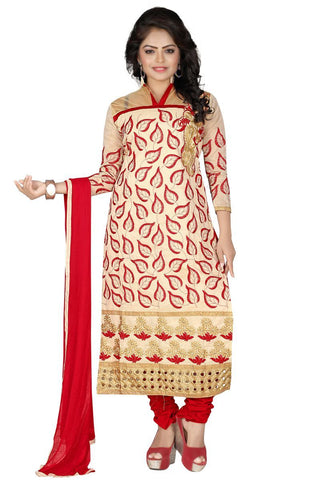 Cream And Red Color Cotton UnStitched Salwar - VSVDNT02