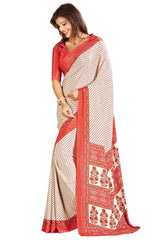 Buy Cream Color Crepe Saree