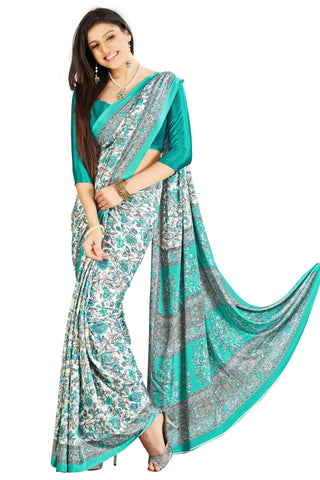 Sea Green Color Crepe Saree - VSVDSUNY704B