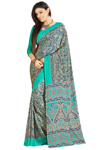 Sea Green Color Crepe Saree - VSVDSUNY707B