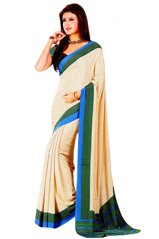 Cream Color Crepe Saree - VSVDSUNY714B
