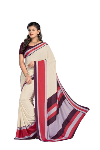 Cream Color Crepe Saree - VSVDSUNY718B