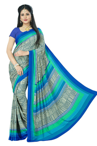 Sky Blue Color Crepe Saree - VSVDSUNY720B