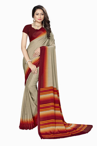 Red Color Crepe Saree - VSVDSUNY722A