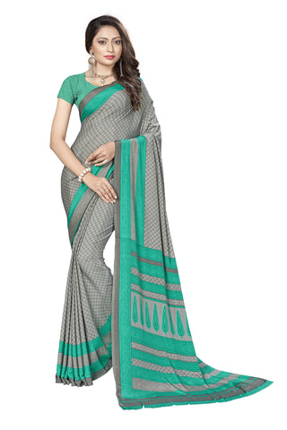 Green Color Crepe Saree - VSVDSUNY723A