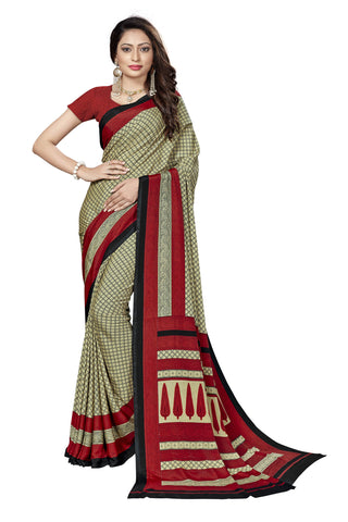 Maroon Color Crepe Saree - VSVDSUNY723B