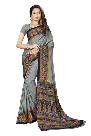 Grey Color Crepe Saree - VSVDSUNY724A