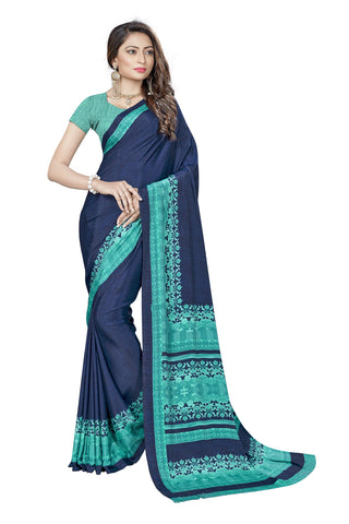Blue Color Crepe Saree - VSVDSUNY725B