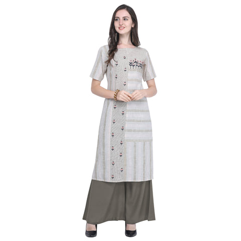 Grey Color Anmol Cotton Women's Top - VT-VT428A