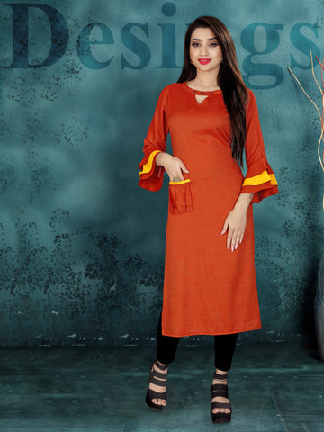 Red Color Two Tone Heavy Rayon Stitched kurti  - VT381