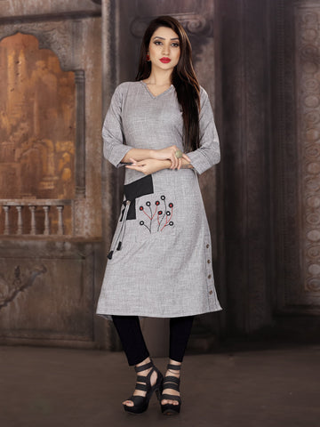 Grey Color Two Tone Heavy Rayon Stitched kurti  - VT382