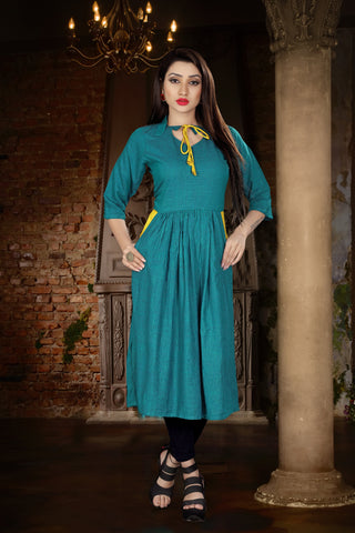 Rama Green Color Two Tone Heavy Rayon Stitched kurti  - VT383