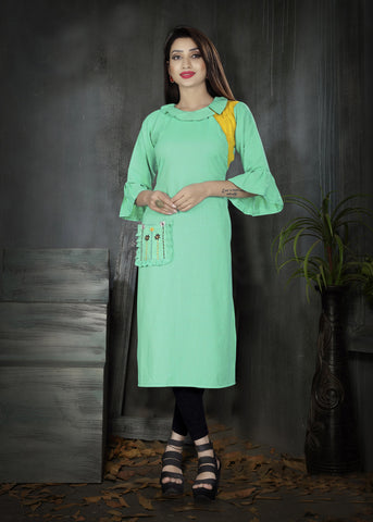 Sea Green Color Two Tone Heavy Rayon Stitched kurti  - VT384