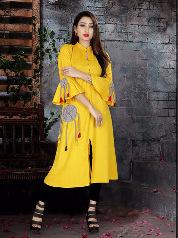 Yellow Color Two Tone Heavy Rayon Stitched kurti  - VT385