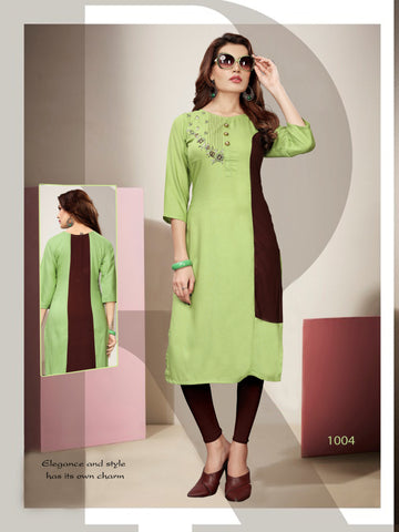 Green Color 14kg Heavy Rayon Stitched Kurti - VT390